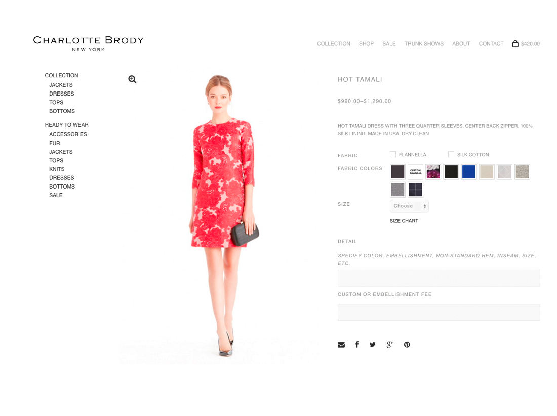 ecommerce ui for made to order garments